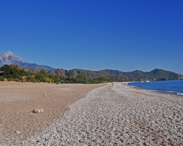 Cirali beach with Tahtali in background